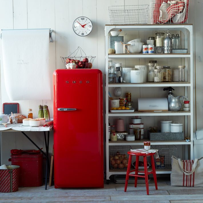 Red Smeg refrigerator via West Elm.