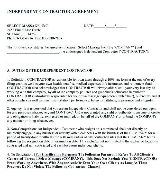 Subcontractor Non Compete Agreement Template Best Of Contractor