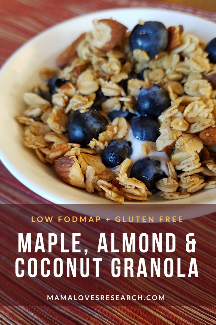 Maple, Almond, and Coconut Granola (Low FODMAP, Gluten Free) - Mama Loves Research