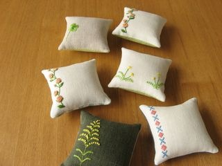Simple embroidered pincushions