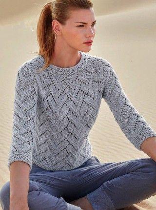 Светло-серый пуловер ажурным узором