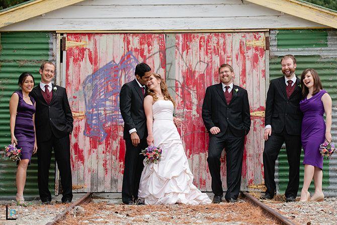 Bridal party and graffiti