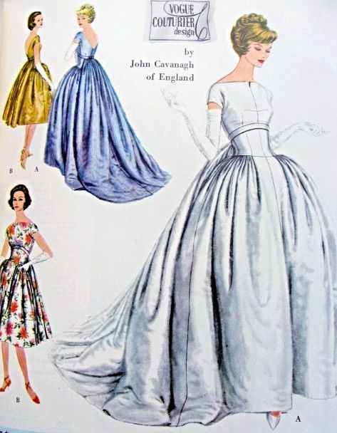 1950s Beautiful John Cavanagh Evening Gown Cocktail Dress or Wedding Bridal Dress Pattern Vogue Couturier Design 148 Flowing Back Panel Gorgeous Style Bust 34 Vintage Sewing Pattern