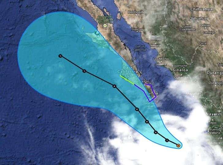 At 05:00hr PDT #BCSIN the center of Tropical Storm Norbert was about 395 km - 245 mi SSE of the southern tip of Baja California. A Tropical Storm Warning is in effect for La Paz to Santa Fe Mexico A tropical storm watch is in effect for north of Santa Fe northward to Cabo San Lazaro Mexico
