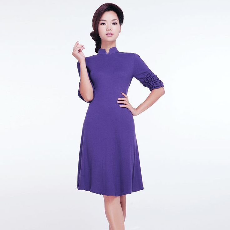 Elegant knit cheongsam dress pure purple. Hope Betrayed