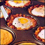 Meal In A Muffin Pan      1 can (15 and 1/2 ounces) corned beef hash      6 large eggs      salt and pepper - to taste      1/2 package of Betty Crocker corn muffin mix*