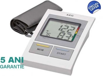 Tensiometru de brat AEG Electrolux BMG 5612 cu mufa de adaptor 6V 600mAh (nu este inclus) Aparat de masura a tensiunii arteriale si pulsului precis si rapid pentru partea superioară a brațului Garantie 5 Ani Ușor de utilizat Afisaz LCD Mare, usor de citit (Alb & Negru) ideal pentru persoanele in etate. Manevrare ușoară prin butoane de control foarte mari Masuritorile sunt certificate de OMS  Tensiometre24.com