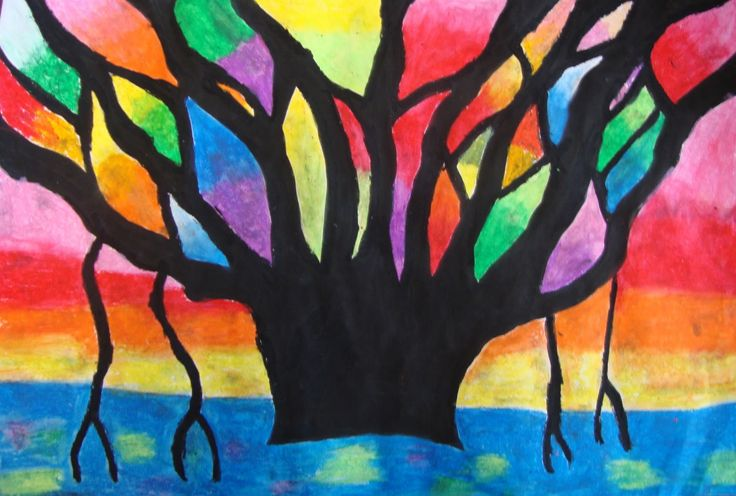 Winter Tree Stained Glass Affect Oil Pastel Drawings