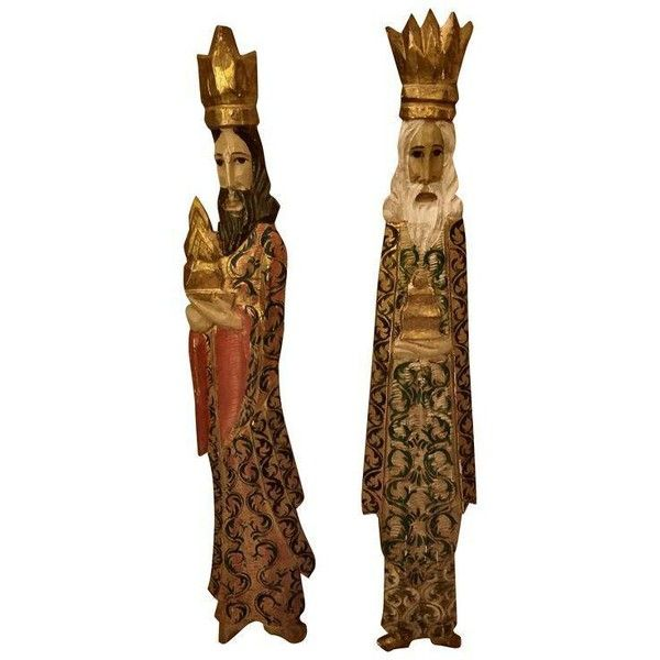Mediterranean Carved Wise Men Wall Hangings- A Pair ($250) ❤ liked on Polyvore featuring home, home decor, wall art, sculptural wall objects, photo wall art, wood wall art, painted wall art, wood home decor and wooden home decor