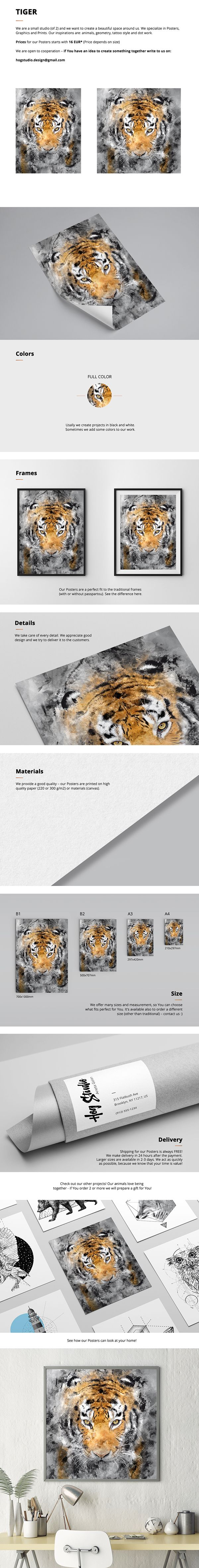 """Poster """"Tiger"""" We create a beautiful space around us. We specialize in Posters, Graphics and Prints. Contact: hogstudio.design@gmail.com"""