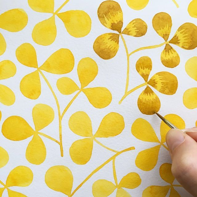Adding some mustard yellow, because I can never get enough mustard yellow on a grey Monday morning! (I'm wearing mustard yellow, too.)  . #Illustratorinminneapolis #watercolor #painting #patterns #makingitupasigo #handbookwatercolorjournal #illustration #workinprogress #process #wip #yellowleaves #yellow #mustard #mustardyellow