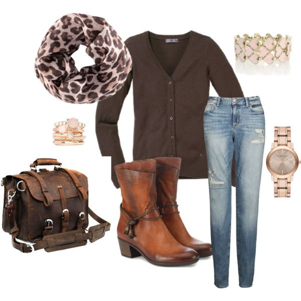 "03-03-2014 Monday  ""Bruin vest met tijger shawl"" by kaatje60 on Polyvore"