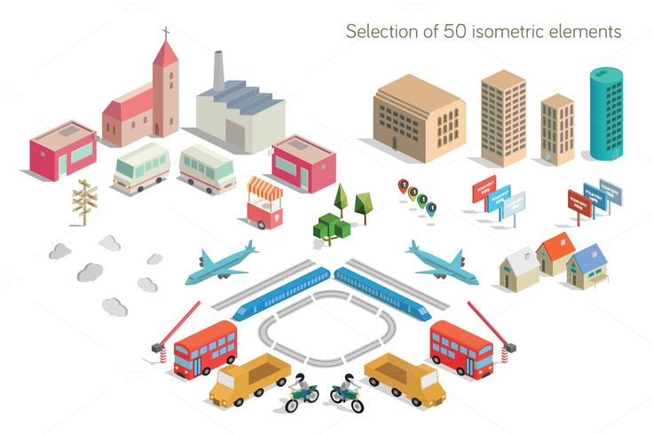 Isometric City Map Builder Vector by roundicons.com on @creativemarket