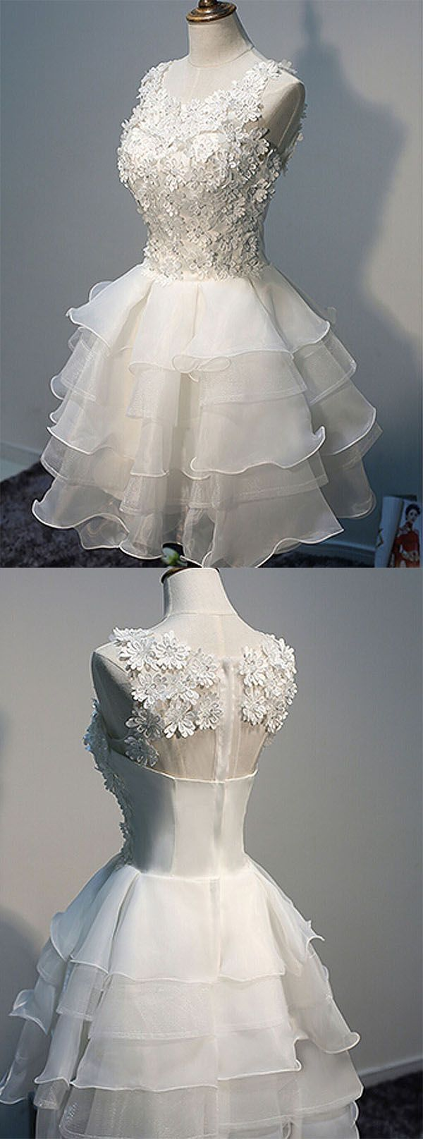 A-line Scoop Knee-length Ivory Organza Homecoming Dress With Appliques