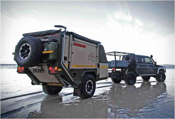 CONQUEROR UEV-440 | OFF ROAD CAMPER TRAILER Conqueror Australia have applied 15 years experience in building some of the worlds toughest military equipment into their awesome range of adventure trailers. Their Conqueror UEV-440 is the ultimate off-road camper trailer, capable of crashing through the wilderness and crossing rivers, and don´t let the compact and super-rugged look fool you, this thing is packed with plenty of luxurious features