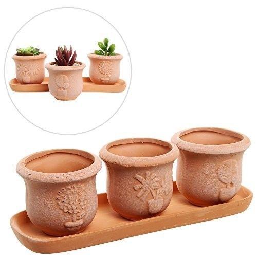 Ceramic-3-Pot-Succulent-Planter-Set-w-Draining-Tray-Decor-Brown-Terracotta-New
