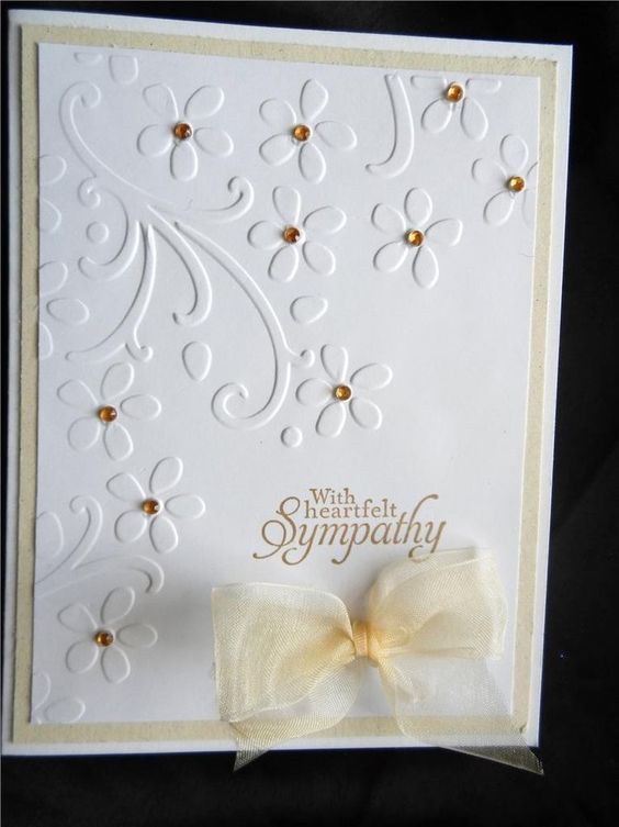 Handmade Sympathy Card Using Stampin Up With Heartfelt Sympathy Rhinestones Bow in Greeting Cards & Gift Tags   eBay