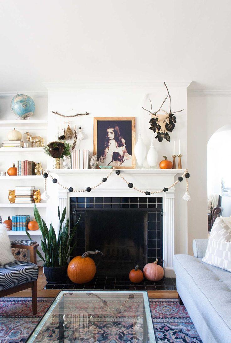 autumn mantel decor with home depot