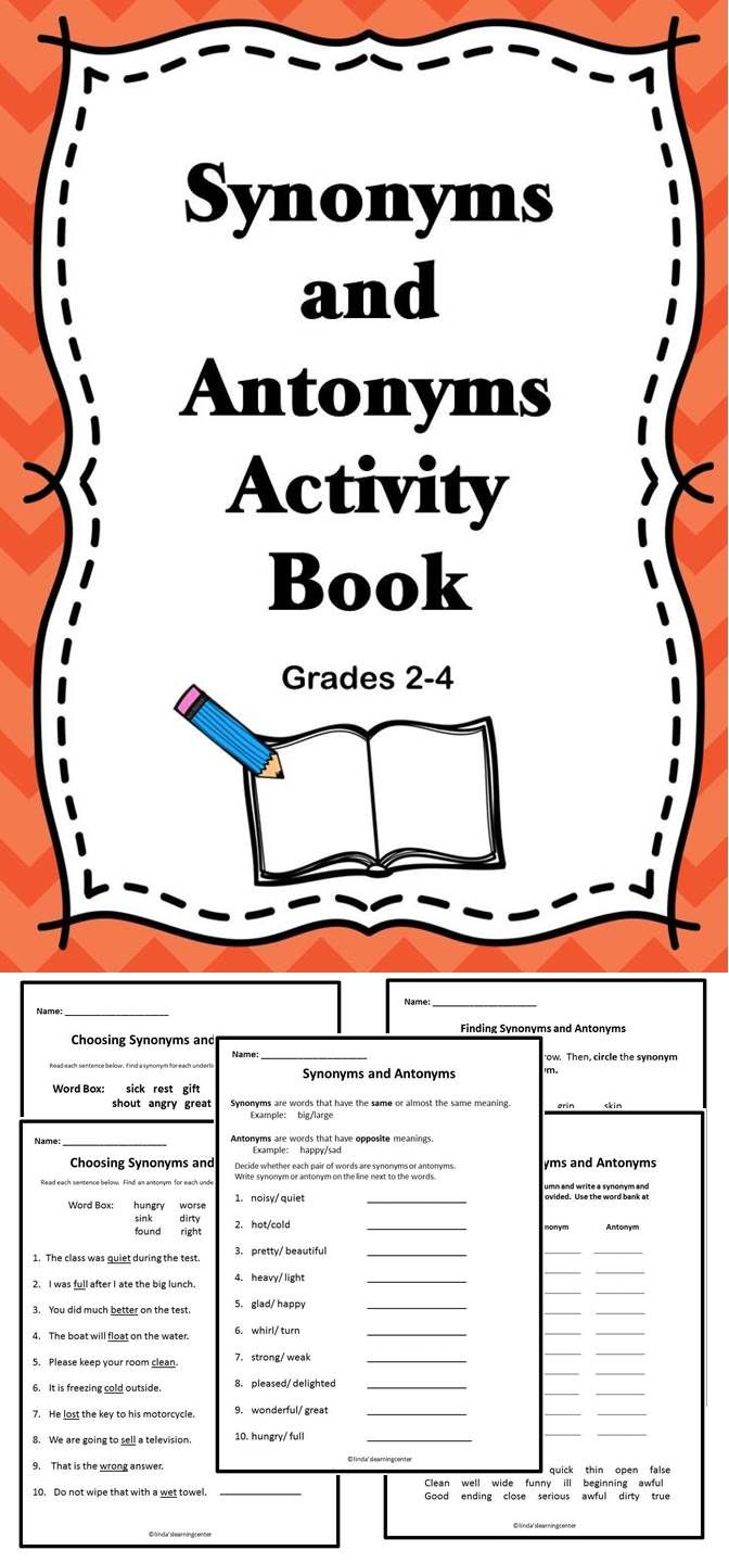 A great activity book that is all about synonyms and antonyms.  #tpt #language #literacy