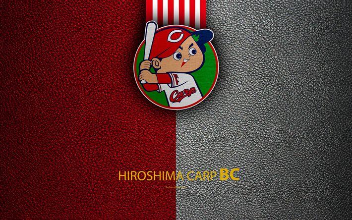 Download wallpapers Hiroshima Toyo Carp, 4k, Japanese baseball club, logo, leather texture, Hiroshima, Japan, Nippon Professional Wash?vall, baseball
