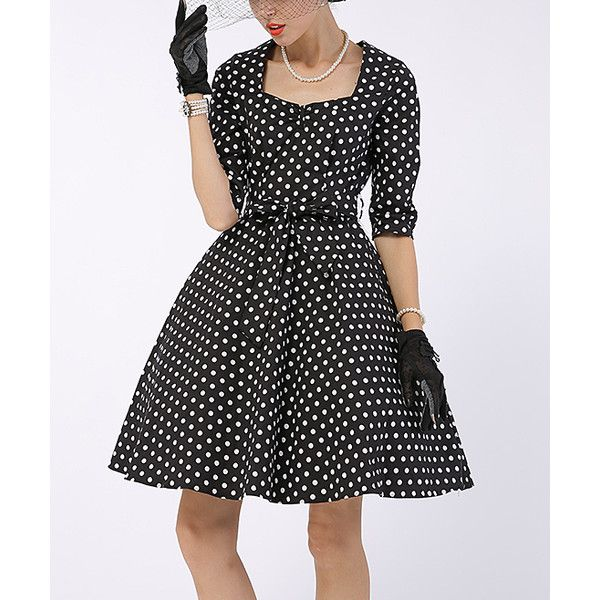 Sucrefas Black & White Polka Dot Three-Quarter Sleeve A-Line Dress ($30) ❤ liked on Polyvore featuring dresses, a line dress, retro dresses, long cotton dresses, 3 4 sleeve long dresses and 3/4 sleeve dresses
