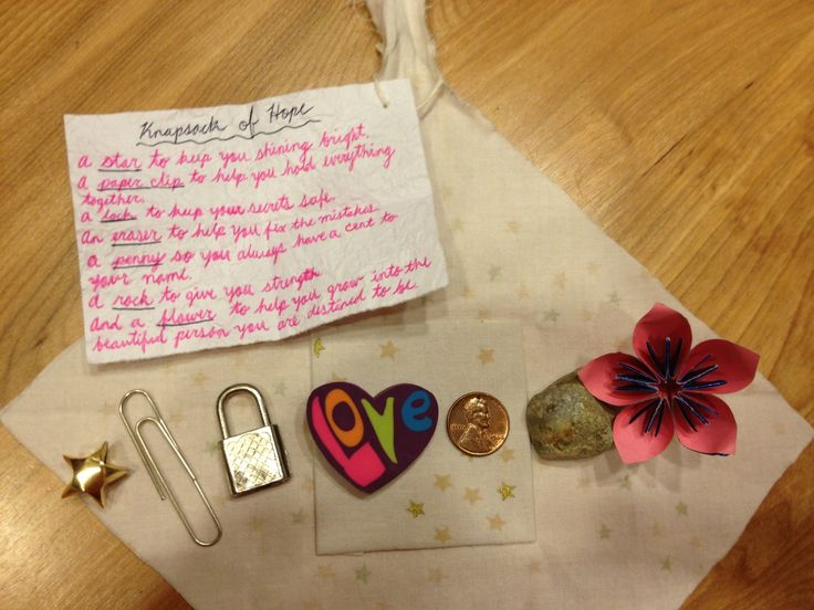 """My own take on the """"Knapsack of Hope"""". Opened so you can see all the little goodies inside"""