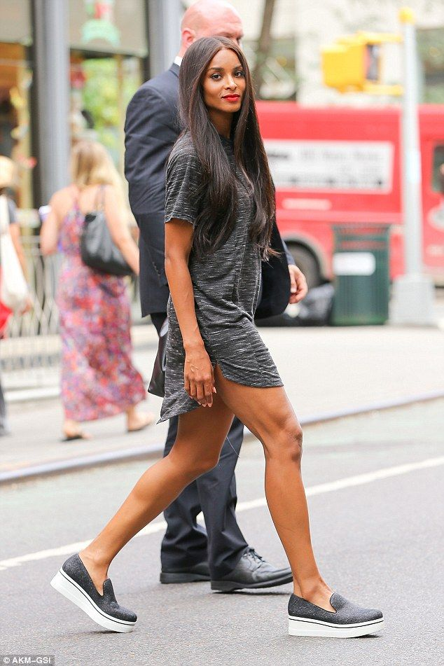 1,2 step: Ciara can't be blamed for wanting to show off some of her impressive results as she was seen putting on a leggy display in New York City on Wednesday
