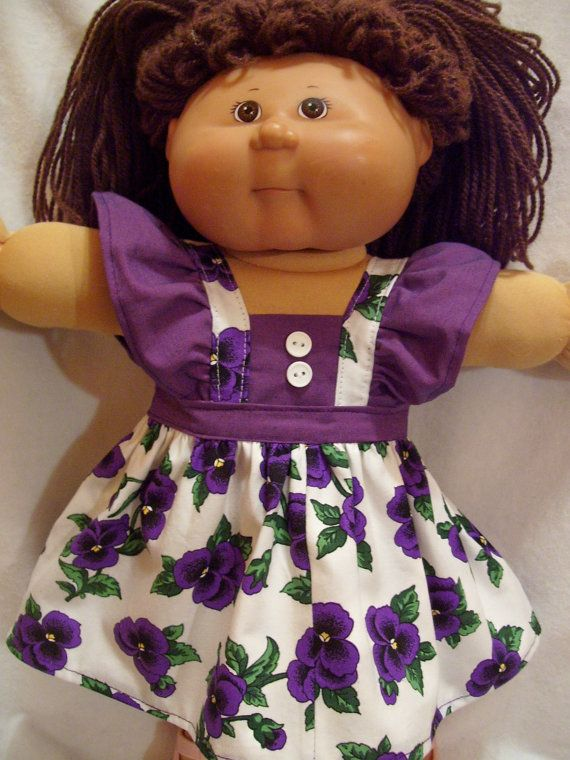 Cabbage Patch Doll Clothes, Pansy Pinafore Set, fits 16inch to 18inch Dolls, Build-a-Bear