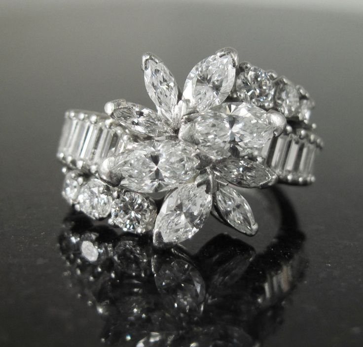Platinum 900 Diamond 2.34ctw Cluster Cocktail Marquise Cluster Diamond Ring
