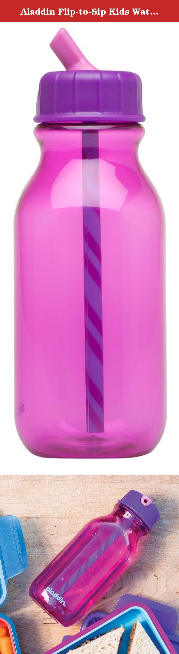 Aladdin Flip-to-Sip Kids Water Bottle 14oz, Purple. DISHWASHER SAFE FOR YOU, FUN TO FLIP AND SIP FOR THEM. This durable water bottle will stand up to daily use and abuse from kids - and you can toss it in the dishwasher. Mix and match with our snack and sandwich kits to make the perfect lunch box set.