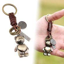 Super Urso do vintage Do Punk de Couro Genuíno Fêmea bonito saco keychain chave Do Carro pingente anel de cadeia para mulheres Jóias originais(China (Mainland))