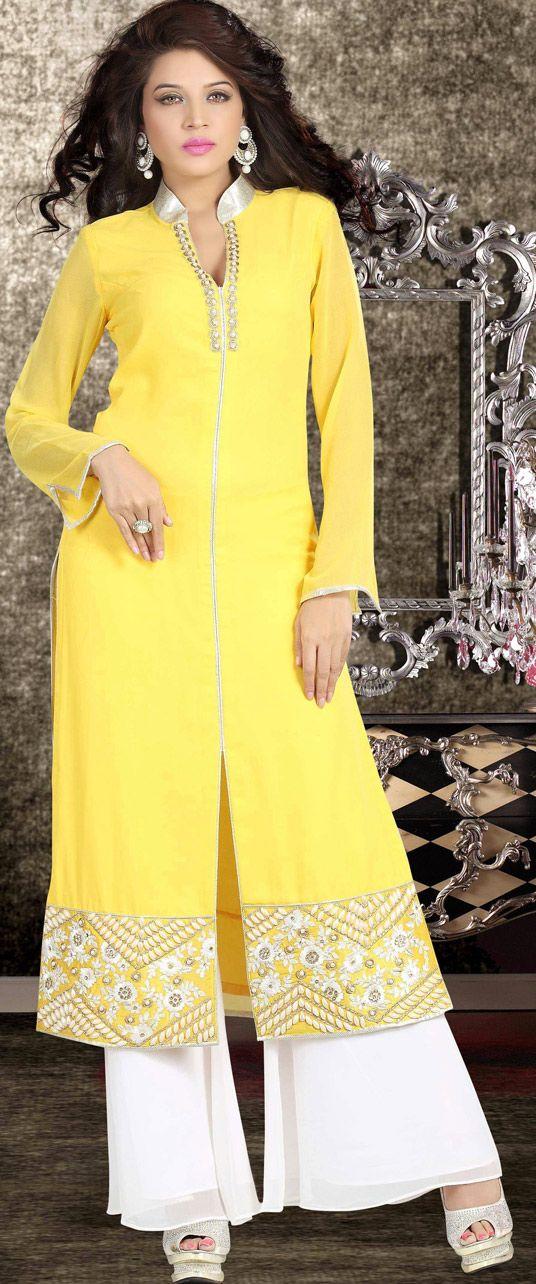 USD 49.28 Yellow Georgette Designer Salwar Kameez 43579