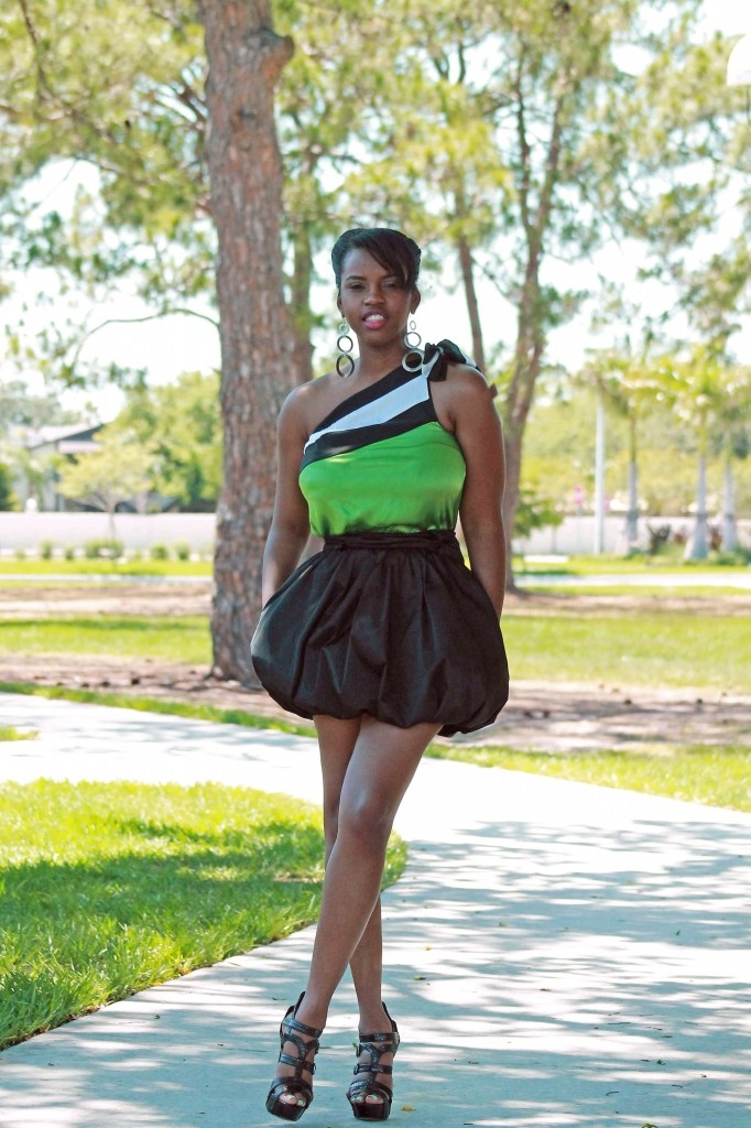 Bow Blouse and Balloon Skirt
