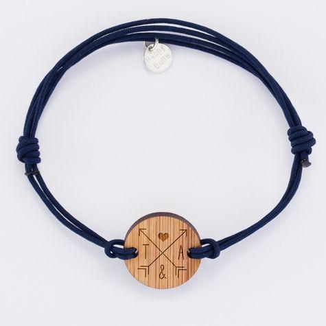 Bracelet homme personnalisé médaille gravée bois ronde édition spéciale Saint-Valentin - 2