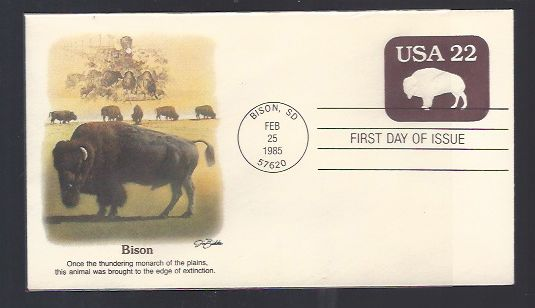 BISON FIRST DAY COVER 1985 BISON FIRST DAY COVER 1985 Postmark Feb 25, 1985  Bison, SD Plastic Sleeve Included