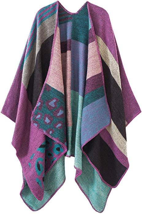 a6cf85821d8a2 Urban CoCo Women s Color Block Shawl Wrap Open Front Poncho Cape  (Purple-series 2