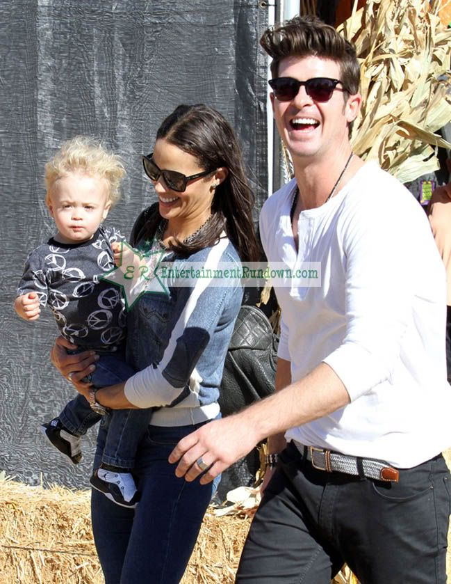 Robin Thicke and Paula Patton (with son Julian)