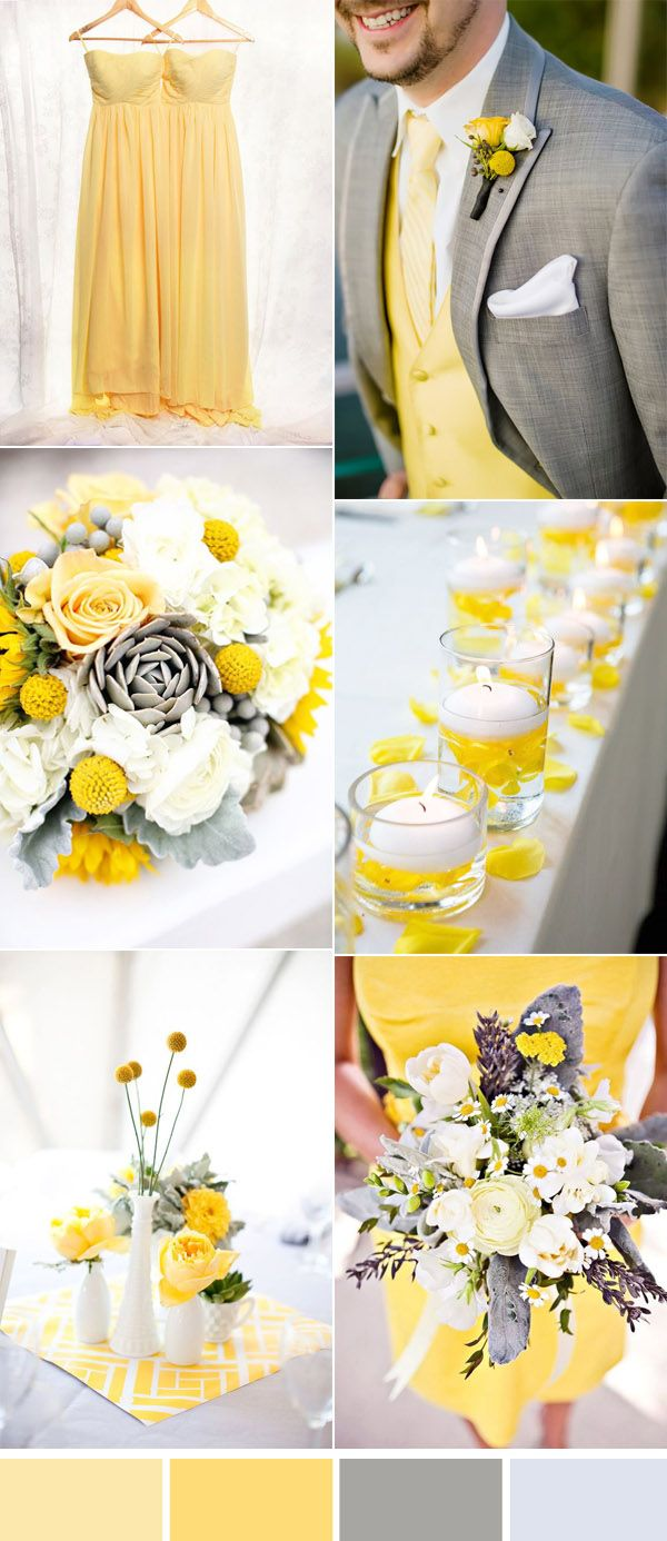 bright yellow and grey wedding colors and bridesmaid dresses