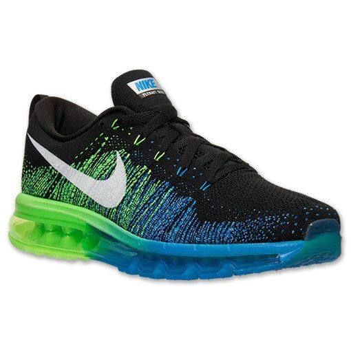 ff46dc80e803 Mens Nike Flyknit Air Max Black Electric Green Royal 620469 002 ...