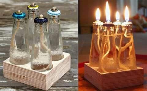 Lampade ad olio, con le bottigliette di bitter e simili :)