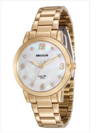 23553LPSVDA1 Relógio Feminino Dourado Seculus Analógico   Guest Club