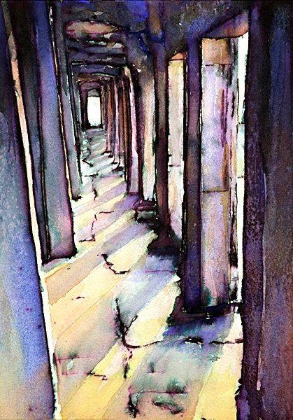 Watercolor painting of Khmer ruins of Angkor by RFoxWatercolors, $25.00