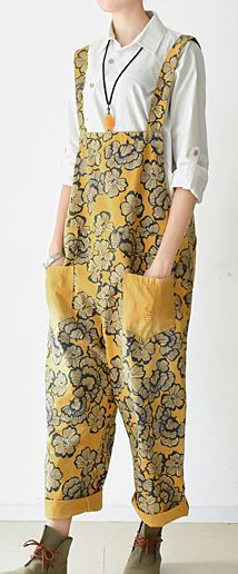 2017 loose spring yellow jumptsuit strapped pants casual floral style cotton clothing