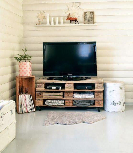 mesa para la tele con palets