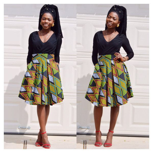 Ankara skirt with two sides pocket. ❤ liked on Polyvore featuring skirts, knee length pleated skirt, wide skirt, pink pleated skirt, pattern pleated skirt and checked skirt