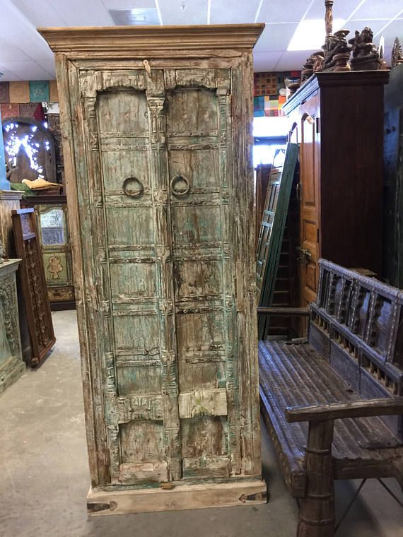 Antique Haveli Armoire Furniture Vintage Distressed Storage