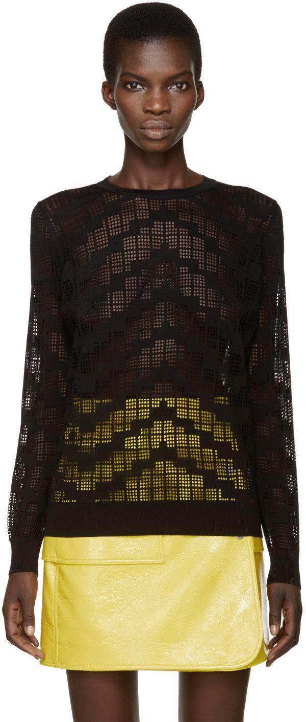 KENZO Black Knit Mesh Sweater. #kenzo #cloth #sweater