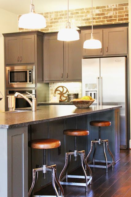 Industrial Farmhouse Kitchen Brick Wall And Back Splash Grey Painted Cabinets Stainless