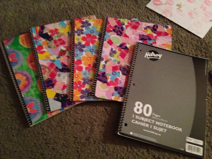 Diy spiral notebook covers! Use scrap wrapping paper and modpodge to cover a notebook!