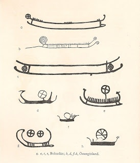 Rock engravings in Scandinavia, dated to the Bronze Age any time between 1500 and 400 BCE show the same correspondence between ships and suns.  Here are some examples, reproduced in 'The Chariot of the Sun and other Rites and Symbols of the Northern Bronze Age' by Peter Gelling and Hilda Ellis Davidson, showing ships embellished with sun discs and spirals.